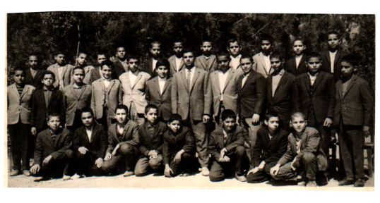 Nemooneh School, Mr. Javeedan's 6th Grade Class- Yazd 1963 A.D. Photo Courtesy:Mohammad Maleki (Top row, fourth from right)
